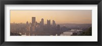 Framed USA, Pennsylvania, Pittsburgh, Allegheny & Monongahela Rivers, View of the confluence of rivers at twilight