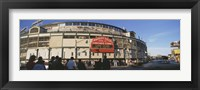 Framed Wrigley Field during the day, USA, Illinois, Chicago