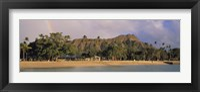 Framed USA, Hawaii, Oahu, Honolulu, Diamond Head St Park, View of a rainbow over a beach resort