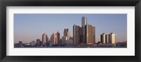Framed Detroit, Michigan Daytime Skyline
