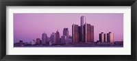 Framed Detriot, Michigan with Purple Sky