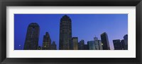 Framed Low angle view of buildings at dusk, Dallas, Texas, USA