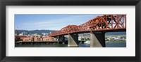 Framed Bascule bridge across a river, Broadway Bridge, Willamette River, Portland, Multnomah County, Oregon, USA