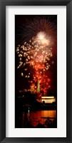 Framed USA, Washington DC, Fireworks over Lincoln Memorial