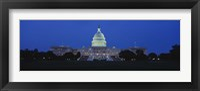Framed Government building lit up at dusk, Capitol Building, Washington DC, USA