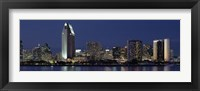 Framed Skyscrapers at night in San Diego, California