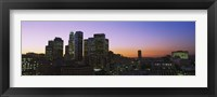 Framed Silhouette of skyscrapers at dusk, City of Los Angeles, California, USA