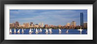Framed View of boats on a river by a city, Charles River,  Boston