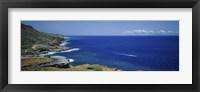 Framed High angle view of a coastline, Oahu, Hawaii Islands, USA