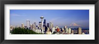 Framed Skyscrapers with mountain in the background, Mt Rainier, Mt Rainier National Park, Space Needle, Seattle, Washington State, USA