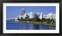 Framed USA, Florida, Miami, Miami Beach, Panoramic view of waterfront and skyline