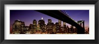 Framed Night Brooklyn Bridge Skyline New York City NY USA