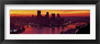 Framed Silhouette of buildings at dawn, Three Rivers Stadium, Pittsburgh, Allegheny County, Pennsylvania, USA
