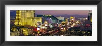 Framed MGM Grand and Paris Casinos at night, Las Vegas, Nevada