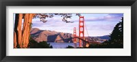 Framed Golden Gate Bridge with Mountains
