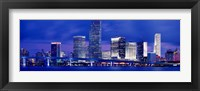 Framed Miami skyline at night, Florida