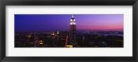Framed Empire State building at night, New York NY