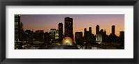 Framed Chicago skyline Lit Up at Night