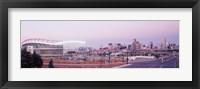 Framed USA, Colorado, Denver, Invesco Stadium, Skyline at dusk