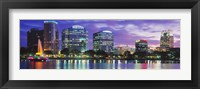 Framed Panoramic View Of An Urban Skyline At Night, Orlando, Florida, USA