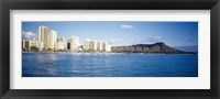 Framed Buildings at the waterfront with a volcanic mountain in the background, Honolulu, Oahu, Hawaii, USA