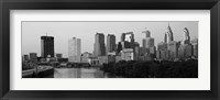 Framed River passing through a city in black and white, Philadelphia, Pennsylvania