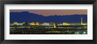 Framed Aerial View Of Buildings Lit Up At Dusk, Las Vegas, Nevada, USA