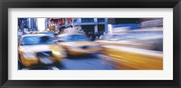 Framed Yellow taxis on the road, Times Square, Manhattan, New York City, New York State, USA