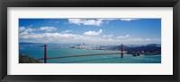 Framed High angle view of a suspension bridge across a bay, Golden Gate Bridge, San Francisco, California, USA