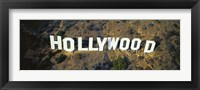 Framed USA, California, Los Angeles, Aerial view of Hollywood Sign at Hollywood Hills