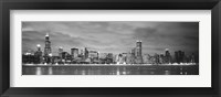 Framed Black and White view of Buildings at the waterfront, Chicago, Illinois