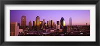 Framed Dallas, Texas Skyline with Purple Sky