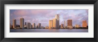 Framed Waterfront And Skyline At Dusk, Miami, Florida, USA
