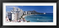Framed Buildings at the waterfront, Waikiki Beach, Honolulu, Oahu, Maui, Hawaii, USA