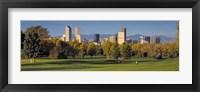 Framed USA, Colorado, Denver, panoramic view of skyscrapers around a golf course
