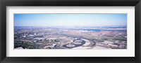 Framed USA, New Jersey, Newark Airport, Aerial view with Manhattan in background