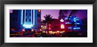 Framed Hotel lit up at night, Miami, Florida, USA