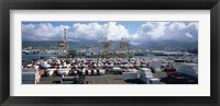 Framed Containers And Cranes At A Harbor, Honolulu Harbor, Hawaii, USA