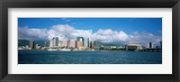 Framed Buildings On The Waterfront, Downtown, Honolulu, Hawaii, USA