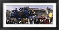 Framed Crowd of people cheering a Mardi Gras Parade, New Orleans, Louisiana, USA