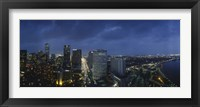 Framed High angle view of buildings in a city lit up at night, New Orleans, Louisiana, USA