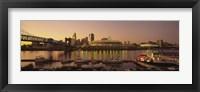 Framed Buildings in a city lit up at dusk, Cincinnati, Ohio, USA