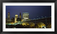 Framed Detroit Avenue Bridge and City Lights