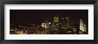 Framed Buildings lit up at night in a city, Pittsburgh Pennsylvania, USA