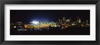Framed Stadium lit up at night in a city, Heinz Field, Three Rivers Stadium, Pittsburgh, Pennsylvania, USA