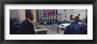 Framed Two people walking, New York Stock Exchange, Wall Street, Times Square, Manhattan, New York City, New York State, USA