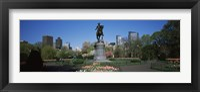 Framed Statue in a garden, Paul Revere Statue, Boston Public Garden, Boston, Suffolk County, Massachusetts, USA
