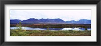 Framed Lake with a mountain range in the background, Mt McKinley, Denali National Park, Anchorage, Alaska, USA