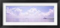 Framed Sea with a container ship and a suspension bridge in distant, Sunshine Skyway Bridge, Tampa Bay, Gulf of Mexico, Florida, USA