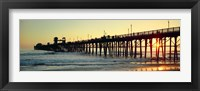 Framed Pier in the ocean at sunset, Oceanside, San Diego County, California, USA